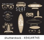 set of vintage surfing graphics ... | Shutterstock .eps vector #454149745