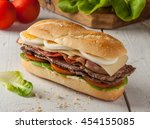 chivito is a typical sandwich...   Shutterstock . vector #454155085