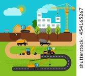 construction process. building... | Shutterstock .eps vector #454165267