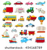 set of cartoon cars  vehicles ... | Shutterstock .eps vector #454168789