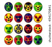 mexican lucha libre wrestling... | Shutterstock .eps vector #454170841