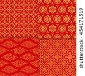 red geometric oriental pattern... | Shutterstock .eps vector #454171519