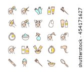hair dyeing icons set for your...