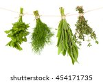 fresh herbs hanging on a rope ... | Shutterstock . vector #454171735