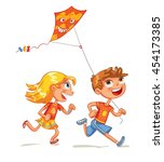children flying the kite. funny ... | Shutterstock .eps vector #454173385