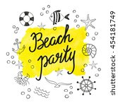 beach party poster design. set... | Shutterstock . vector #454181749