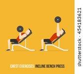 chest exercises. incline bench...   Shutterstock .eps vector #454183621
