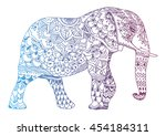 stylized elephant. indian... | Shutterstock .eps vector #454184311