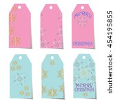 set of six gift tags for... | Shutterstock .eps vector #454195855