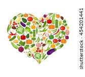 heart shaped vegetables set on... | Shutterstock .eps vector #454201441