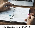 Small photo of Agenda Writing Notebook Workplace Concept