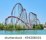 roller coaster and lake | Shutterstock . vector #454208101