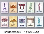 set of art ornamental travel... | Shutterstock .eps vector #454212655