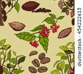 seamless pattern with coffee...   Shutterstock .eps vector #454222615