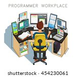 the programmer writes code.... | Shutterstock .eps vector #454230061