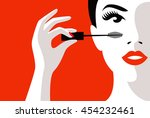 illustration girl in his hand... | Shutterstock .eps vector #454232461