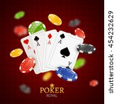 poker chips and cards... | Shutterstock .eps vector #454232629
