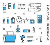 medicine icons pharmacy blue... | Shutterstock .eps vector #454237345