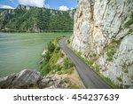 danube river and road near big... | Shutterstock . vector #454237639