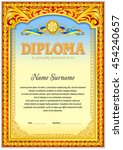 colorful diploma template in... | Shutterstock .eps vector #454240657