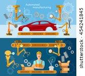car assembly line banner... | Shutterstock .eps vector #454241845