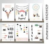 light green pink gold card... | Shutterstock .eps vector #454254529