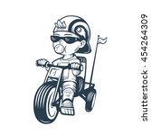 cool little boy on bike with...   Shutterstock .eps vector #454264309