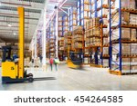 interior of a modern warehouse... | Shutterstock . vector #454264585