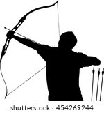 a silhouette of an archer is at ... | Shutterstock .eps vector #454269244