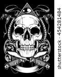 skull snake vector design | Shutterstock .eps vector #454281484