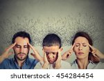 Small photo of Closeup portrait sad young woman, man and child with worried stressed face expression and brain melting into lines question marks interconnected. Obsessive compulsive, adhd, anxiety disorders