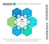 six hexagon branches chart... | Shutterstock .eps vector #454285339