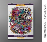 Cartoon colorful hand drawn doodles musical poster template. Very detailed, with lots of music objects illustration. Funny vector artwork. Corporate identity design. | Shutterstock vector #454287961