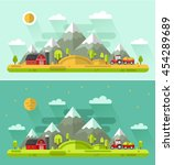 flat design vector day and... | Shutterstock .eps vector #454289689