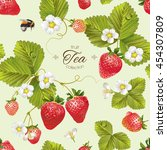vector strawberry tea seamless... | Shutterstock .eps vector #454307809