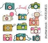 photo cameras vector set.... | Shutterstock .eps vector #454314811