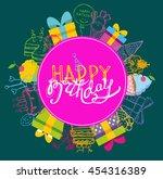 happy birthday vector banner.... | Shutterstock .eps vector #454316389