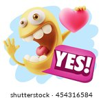 3d rendering. emoji saying yes... | Shutterstock . vector #454316584