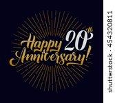 happy anniversary calligraphic... | Shutterstock .eps vector #454320811