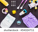 baby set of cloth diaper ... | Shutterstock . vector #454324711