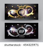 vip banner with curled cut gold ... | Shutterstock .eps vector #454325971
