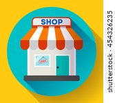 store front vector icon flat... | Shutterstock .eps vector #454326235