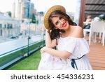 close up portrait of pretty... | Shutterstock . vector #454336231