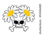 Skull And Flowers. Bones In...