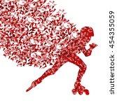 boy driving roller skates red... | Shutterstock .eps vector #454355059
