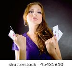young woman with aces four of a ... | Shutterstock . vector #45435610