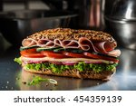 whole wheat sandwich with ham ... | Shutterstock . vector #454359139