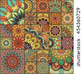 boho tile set and seamless... | Shutterstock .eps vector #454360729