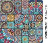 boho tile set and seamless... | Shutterstock .eps vector #454360741