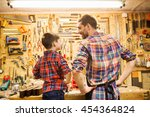 family  carpentry  woodwork and ... | Shutterstock . vector #454364824